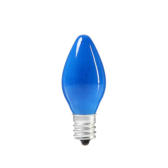Лампочка накаливания E12, 10W, для ночников и гирлянд, матовая синяя, 220 В