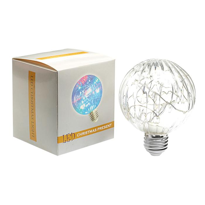 "Лампа светодиодная декоративная ""Шар"", G80, 3 Вт, E27, 105х80, красный"