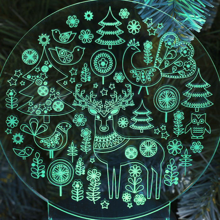 "Подставка световая ""Новогодние фигурки"", 10 LED, USB, 3*AА (не в компл), RGB"