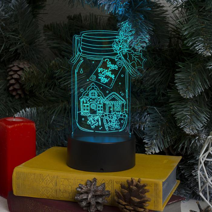 """Подставка световая """"Чудес в Новом Году"""", 10 LED, USB, 3*AА (не в компл), RGB"""