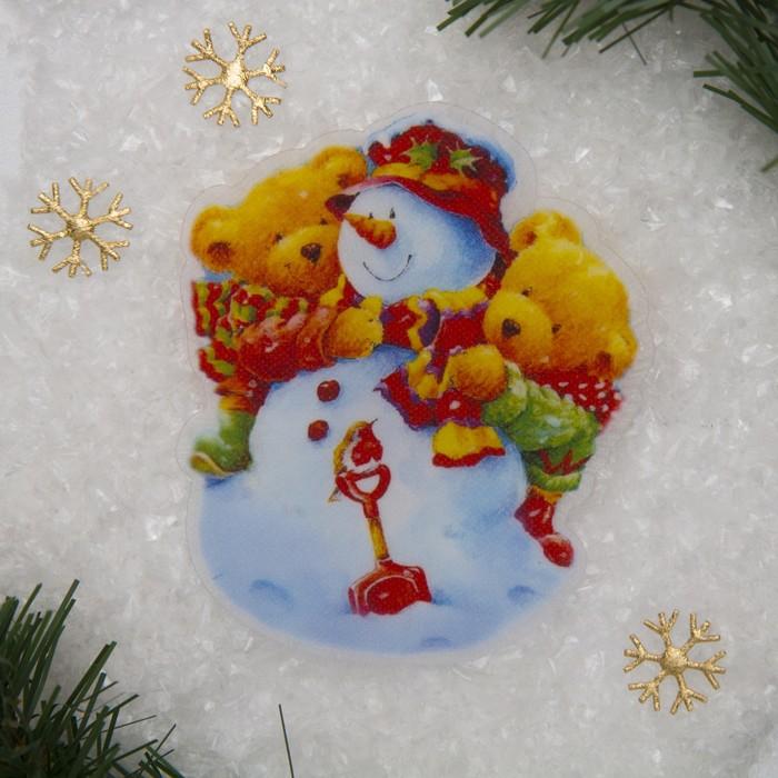 "Световая картинка на присоске ""Снеговичок""(батарейки в комплекте), оптоволокно, 1 LED, RGB"