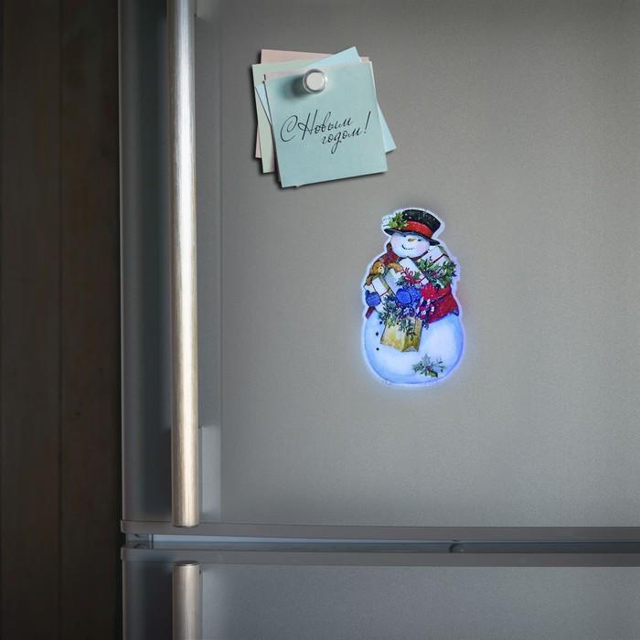 """Световая картинка на магните """"Снеговик""""(батарейки в комплекте), оптоволокно, 1 LED, RGB"""