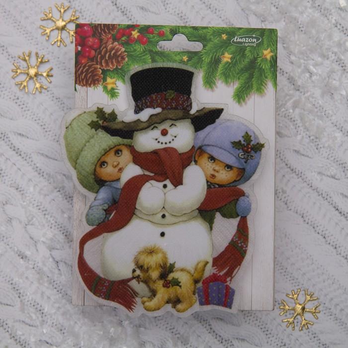 "Световая картинка на присоске ""Снеговик с детьми""(батарейки в комплекте), 1 LED, RGB"