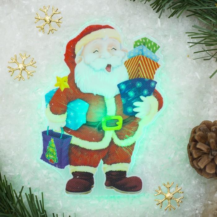 """Световая картинка на присоске """"Дед Мороз с подарками""""(батарейки в комплекте), 1 LED, RGB"""