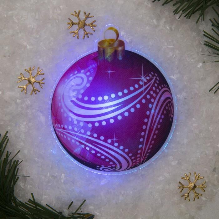"""Световая картинка на прищепке """"Елочный шар""""(батарейки в комплекте), оптоволокно, 1 LED, RGB"""