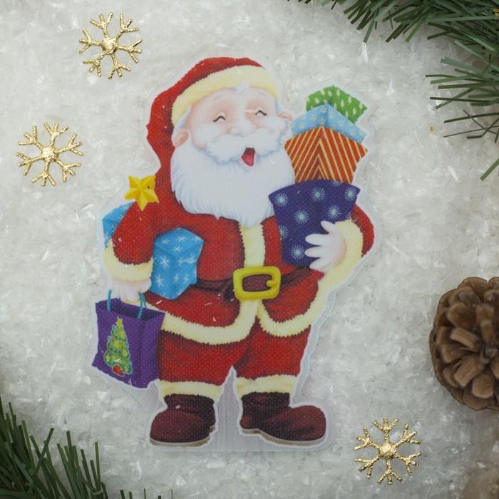 """Световая картинка на магните """"Дед Мороз с подарками""""(батарейки в комплекте), 1 LED, RGB"""