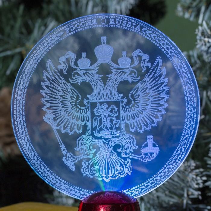 "Подставка световая ""Герб России"", 13.5х11 см, 1 LED, батарейки в комплекте, RGB микс"