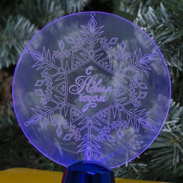 "Подставка световая ""Снежинка"", 13.5х11 см, 1 LED, батарейки в комплекте, RGB микс"