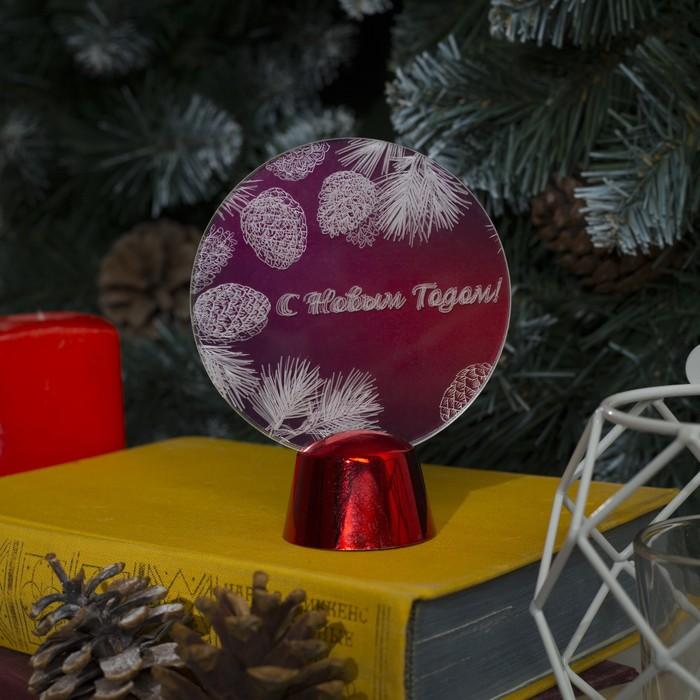 """Подставка с динамикой """"С Новым Годом"""" (батарейки в комплекте), 11,5 см, 2 LED, БЕЛЫЙ"""