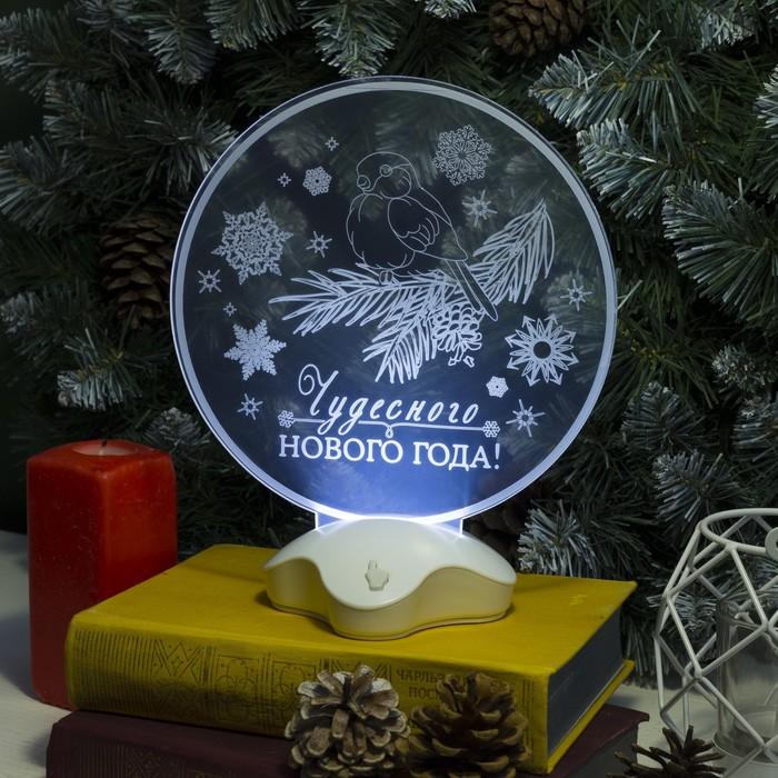 """Подставка световая """"Снегирь"""", 22.5х19 см, 7 LED, SMD3528, 3хААА (не в компл.), БЕЛЫЙ"""