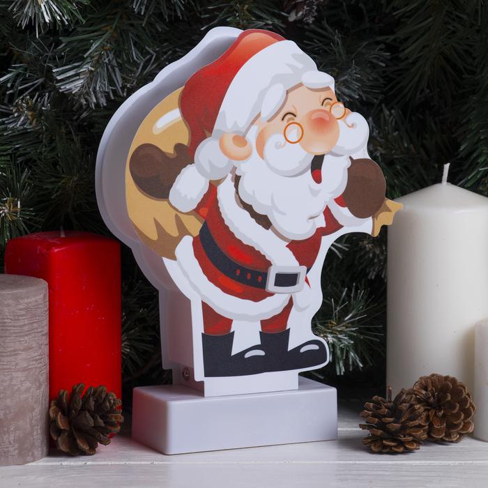 """Световая картинка на подставке """"Санта"""", SMD 2835, 8 LED, 3*АА (не в комплекте)"""