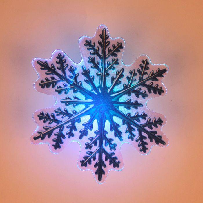 """Световая картинка на магните """"Снежинка""""(батарейки в комплекте), оптоволокно, 1 LED, RGB"""