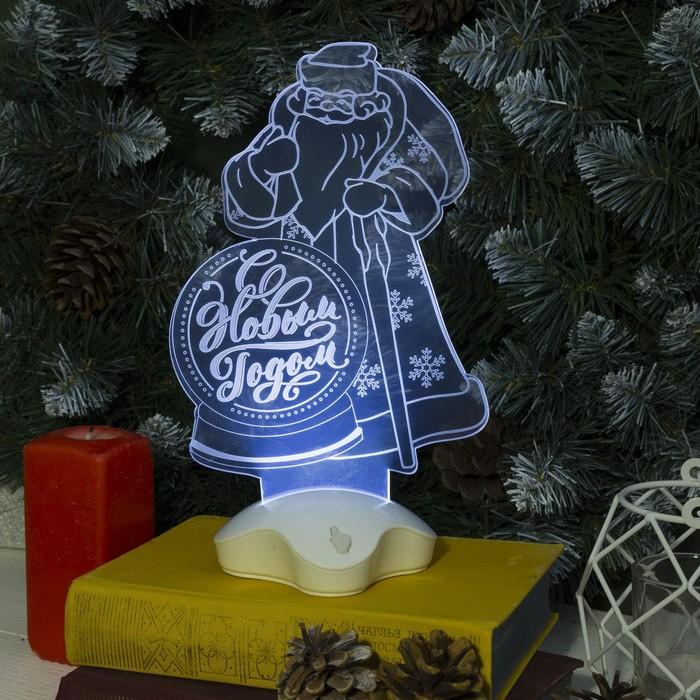 "Подставка световая ""Дед Мороз, С Новым Годом"", 25х15.5 см, 7 LED, 3хААА (не в компл.), БЕЛЫЙ"