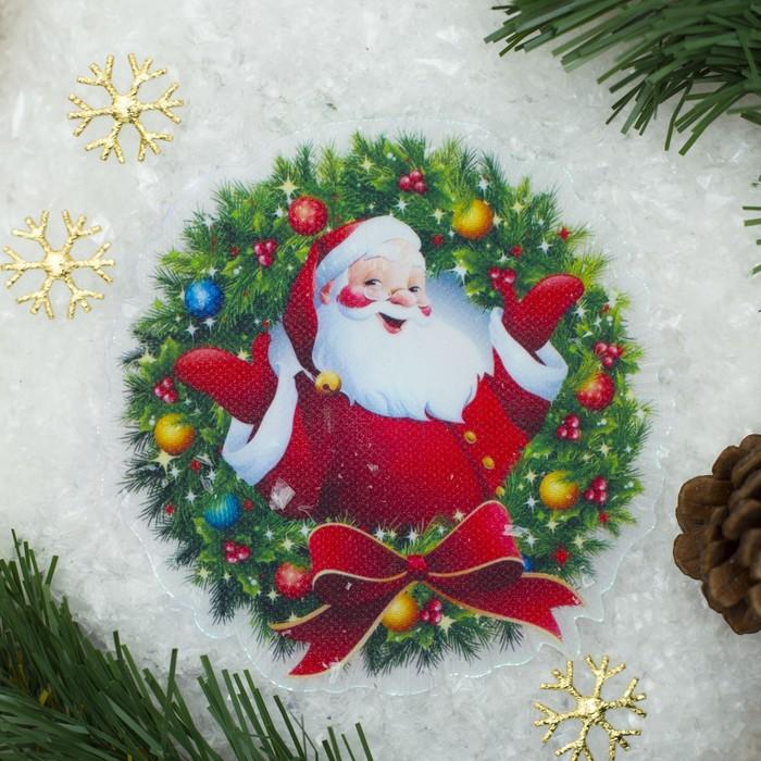 """Световая картинка на магните """"Санта""""(батарейки в комплекте), оптоволокно, 1 LED, RGB"""