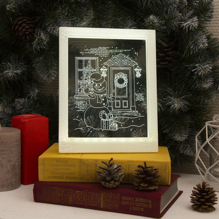 "Рамка светящаяся, ""Снеговик"" 13,5 х 17 см, USB, 5V, 10 LED, БЕЛЫЙ"