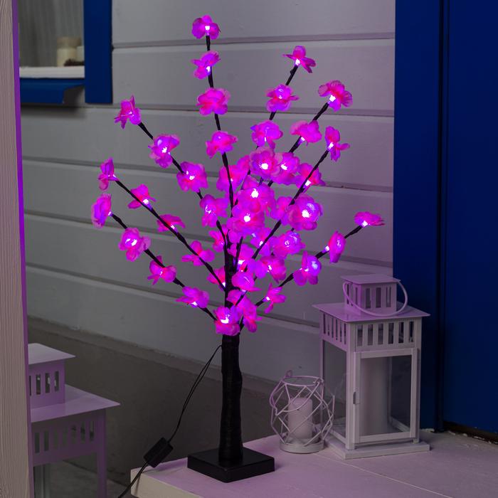 """Светодиодный куст улич. 0,6 м, """"Цветочки"""", 50 LED, 220V, фиксинг РОЗОВЫЙ"""