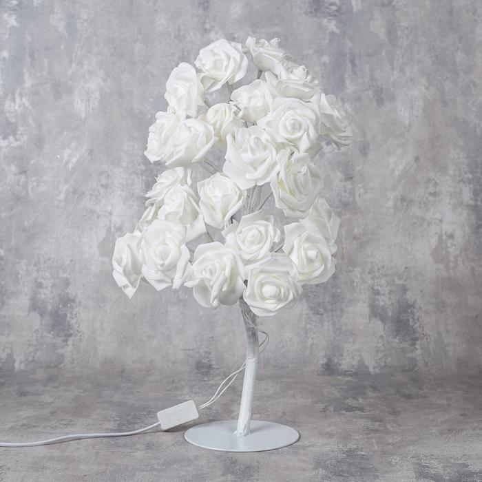 """Светодиодный куст 0.45 м, """"Розы белые"""", 24 LED, 220V, БЕЛЫЙ"""