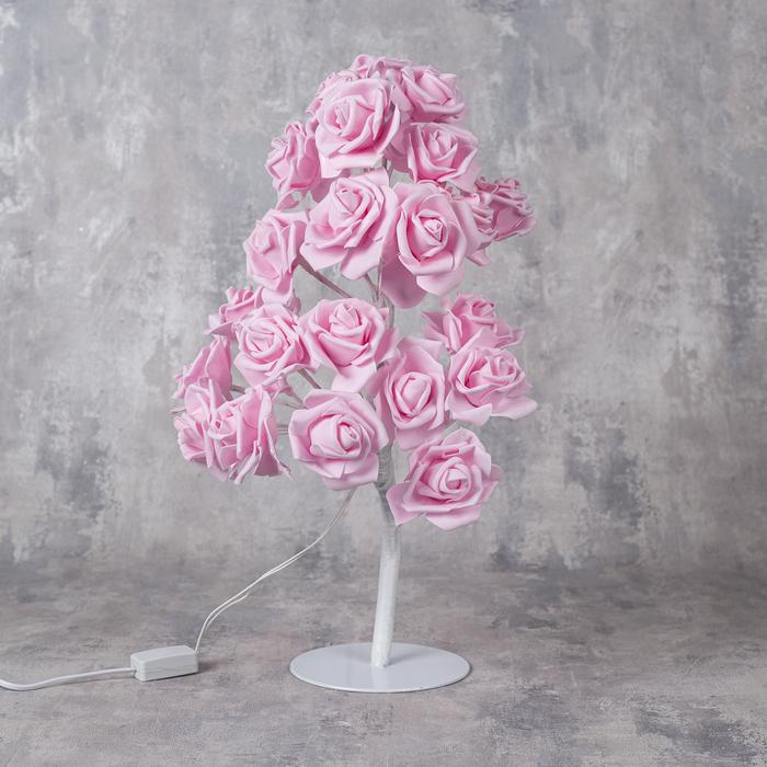 """Светодиодный куст 0.45 м, """"Розы розовые"""", 24 LED, 220V, РОЗОВЫЙ"""
