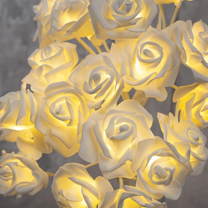 """Светодиодный куст 0.45 м, """"Розы белые"""", 24 LED, 220V, Т/БЕЛЫЙ"""