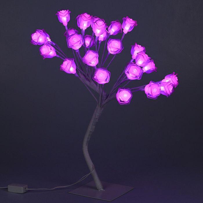 """Светодиодный куст улич. 0,45 м, """"Розы"""", 28 LED, 220V, РОЗОВЫЙ"""