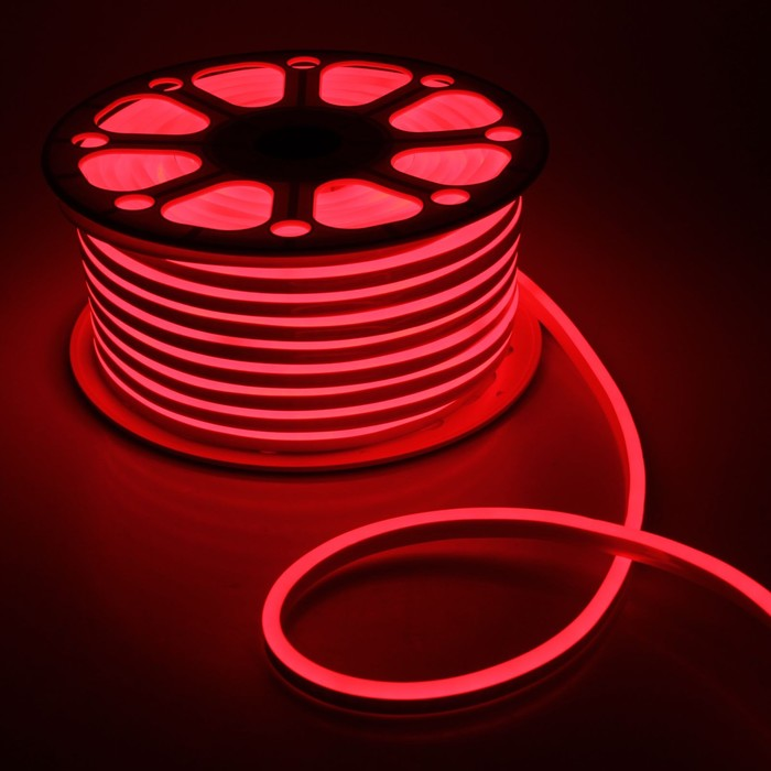 Гибкий неон, 8х16 мм, 50 м, LED/м-120-SMD2835-24V, КРАСНЫЙ