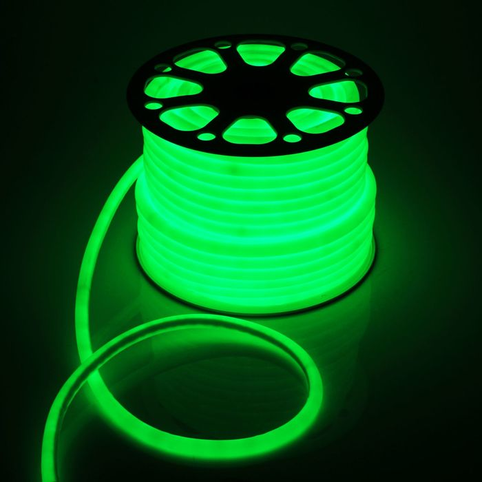 Гибкий неон круглый, D=16 мм, 50 м, LED/м-120-SMD2835-220V, ЗЕЛЕНЫЙ