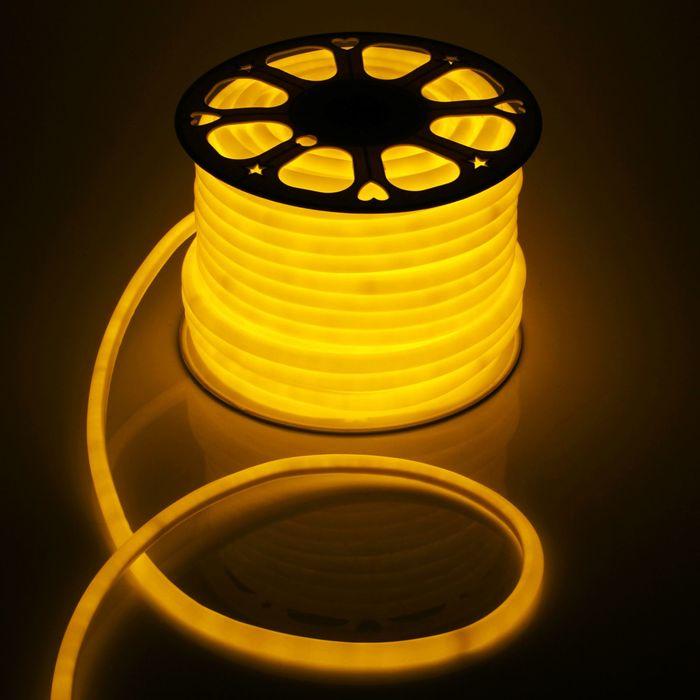 Гибкий неон круглый, D=16 мм, 50 м, LED/м-120-SMD2835-220V, ЖЕЛТЫЙ