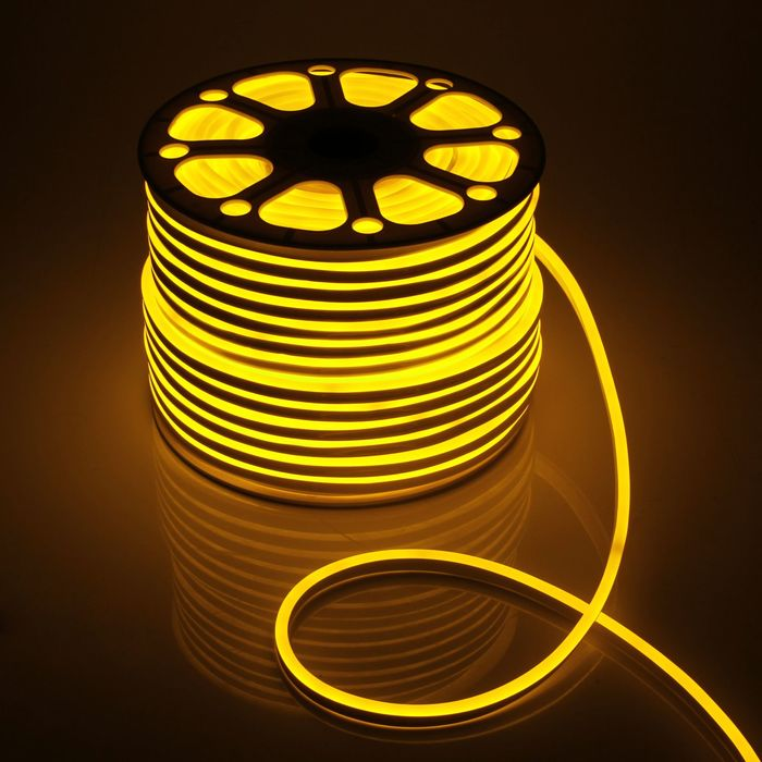 Гибкий неон, 8х16 мм, 100 м, LED/м-120-SMD2835-220V, ЖЕЛТЫЙ