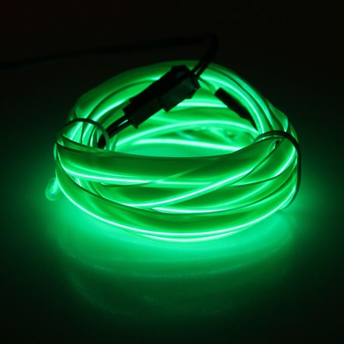 Неоновая нить для подсветки салона, плоская, 12 В, 2 м, с адаптером питания, зеленый