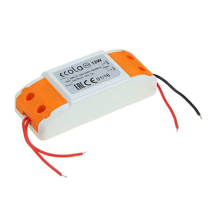 Блок питания Ecola, для светодиодной ленты, 12 Вт, 220-12 В, IP20