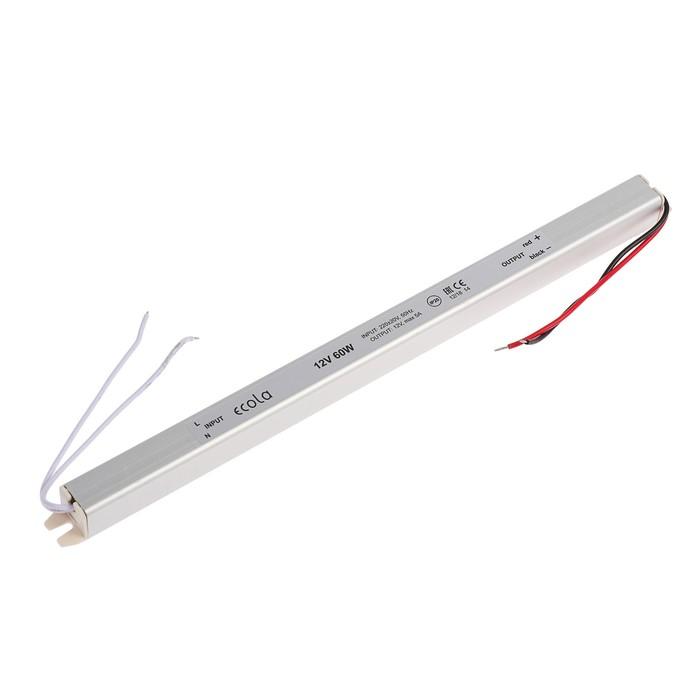 Блок питания д/светодиодной ленты Ecola LED strip Power Supply, 60Вт, 12В, длинный, тонкий