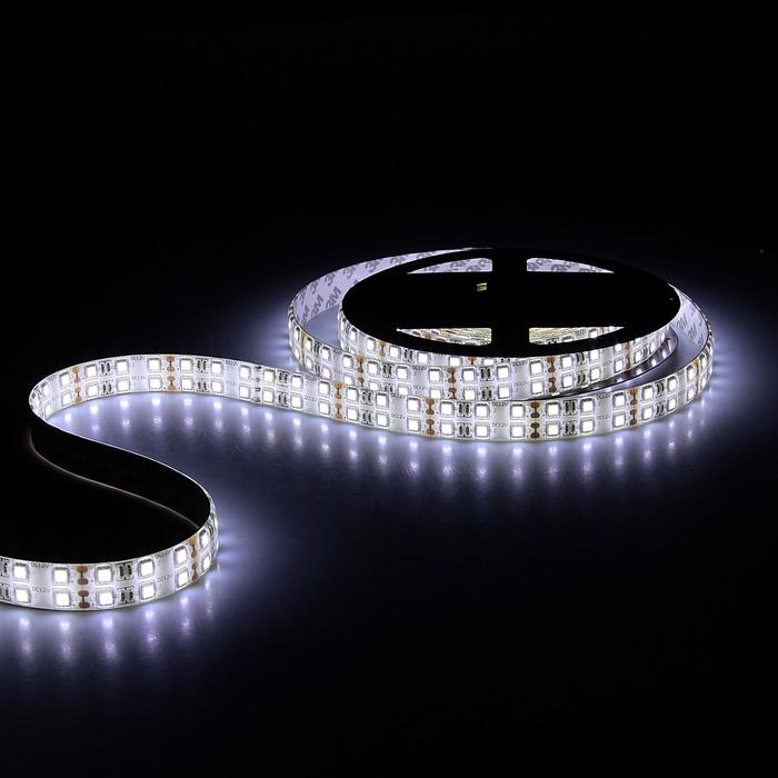 Светодиодная лента 12В, SMD5050, 5 м, IP65, 120 LED, 28.8 Вт/м, 10-12 Лм/1 LED, DC, БЕЛЫЙ