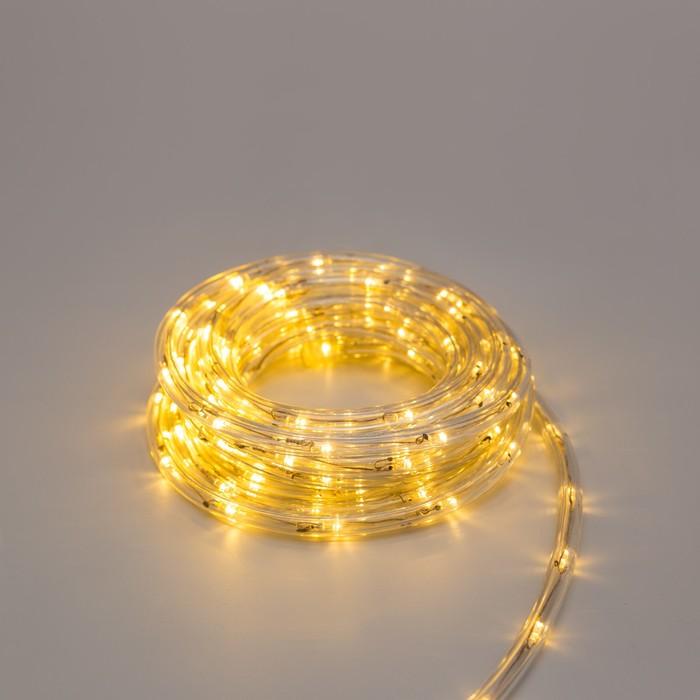 LED шнур 10 мм, круглый, 5 м, чейзинг, 2W-LED/м-24-220V, с контр. 8р, ТЕПЛЫЙ БЕЛЫЙ