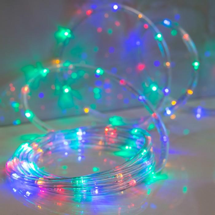 LED шнур 10 мм, круглый, 20 м, чейзинг, 2W-LED/м-24-220V, с контр. 8р, МУЛЬТИ