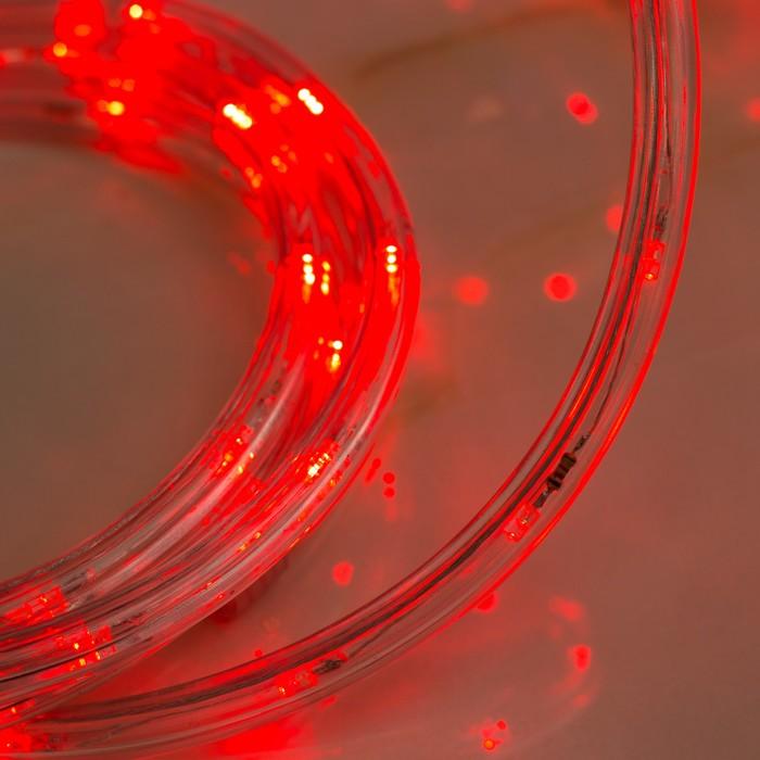 LED шнур 10 мм, круглый, 20 м, чейзинг, 2W-LED/м-24-220V, с контр. 8р, КРАСНЫЙ
