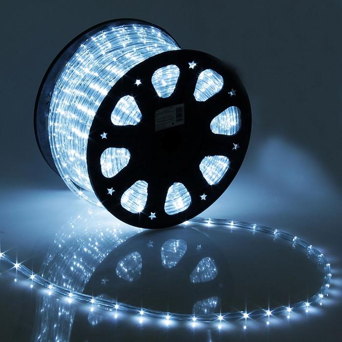 LED шнур 11 мм, круглый, 100 м, фиксинг, 2W-LED/м-24-220V, в компл. набор д/подкл. Белый