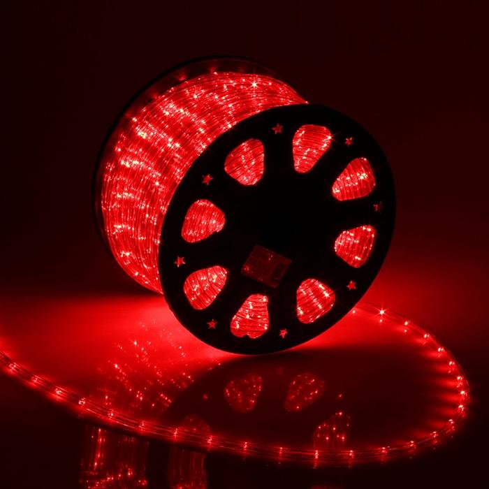 LED шнур 11 мм, круглый, 100 м, фиксинг, 2W-LED/м-24-220V, в компл. набор д/подкл. Красный
