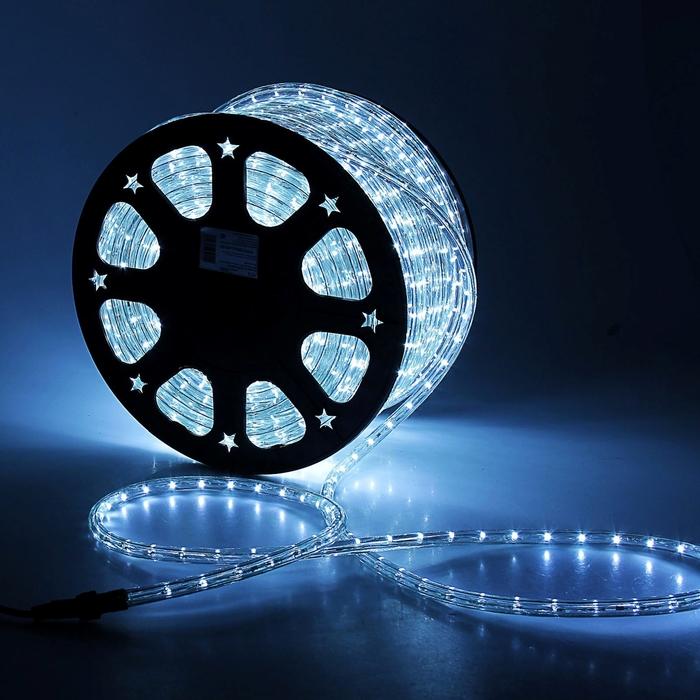 LED шнур 13 мм, круглый, 100 м, фиксинг, 2W-LED/м-36-220V. в компл. набор д/подкл. Белый