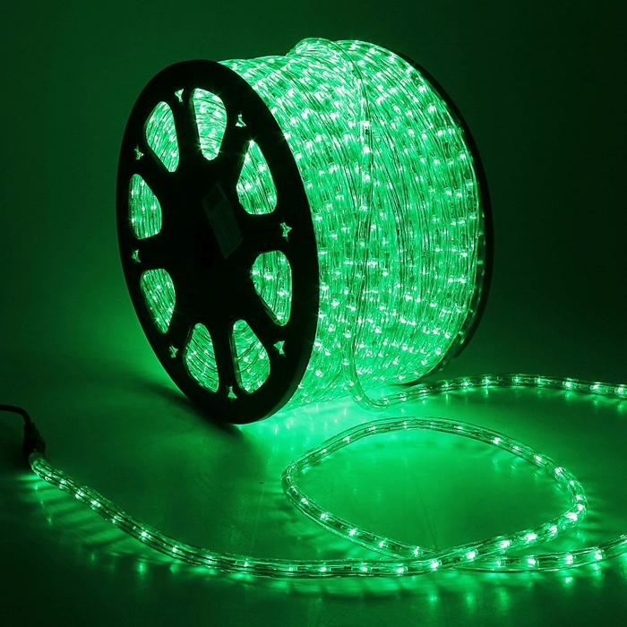 LED шнур 13 мм, круглый, 100 м, фиксинг, 2W-LED/м-36-220V. в компл. набор д/подкл. Зеленый