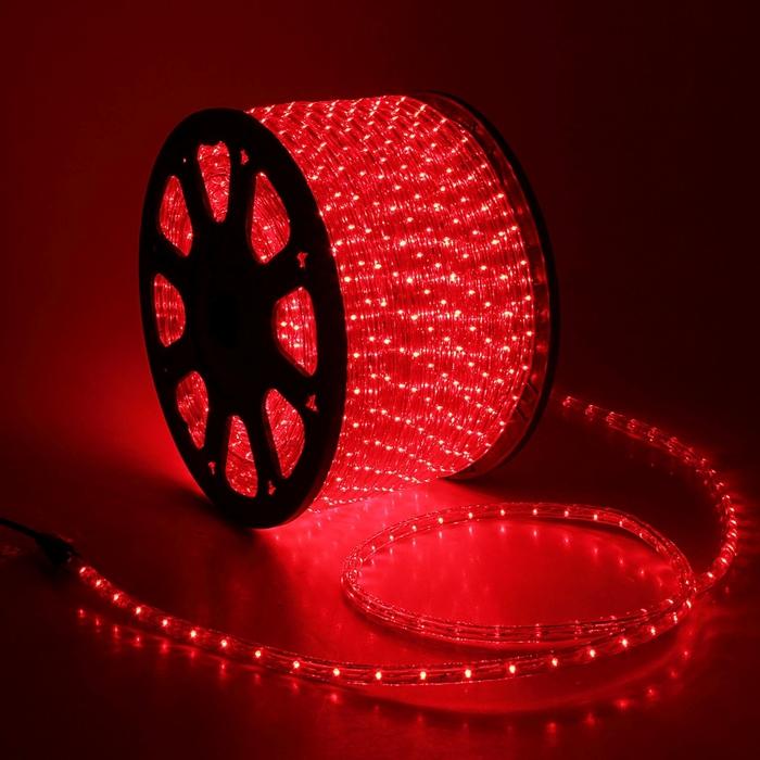 LED шнур 13 мм, круглый, 100 м, чейзинг, 3W-LED/м-36-220V. в компл. набор д/подкл. Красный