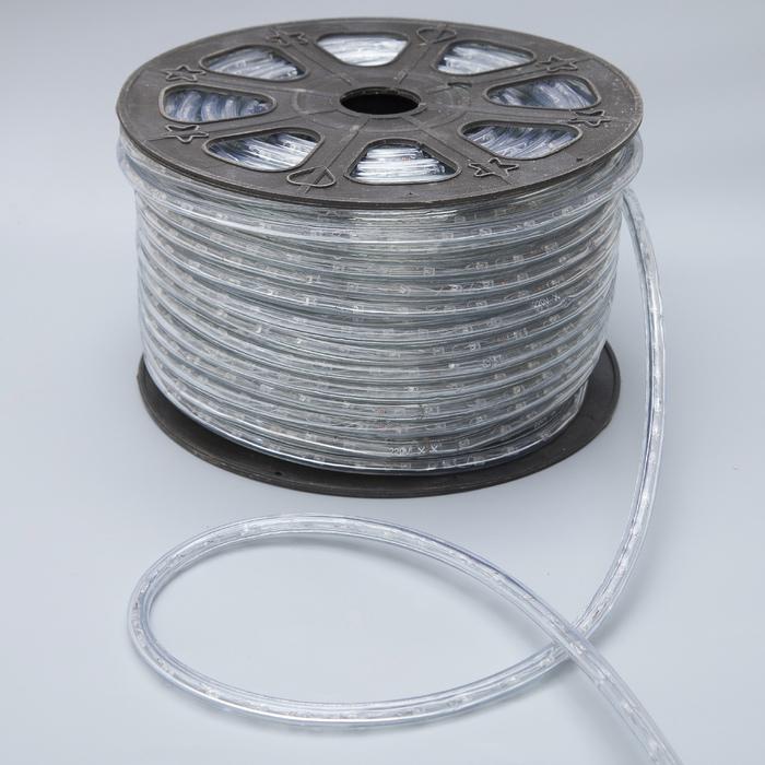LED шнур 13 мм, круг, 100 м, кажд.6 мерц, 2W-LED/м-36-220V. + н-р д/подкл. ЖЕЛТЫЙ