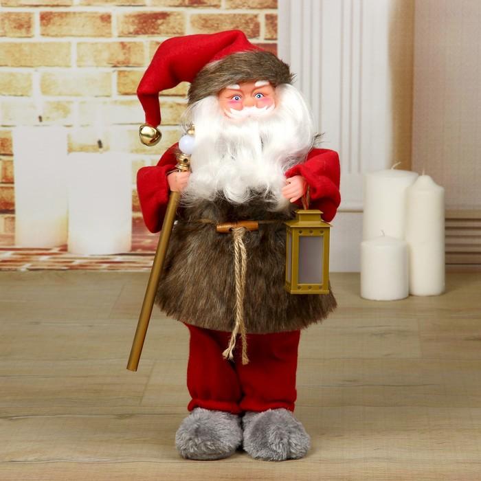 Дед Мороз, с фонарём, с подсветкой, с подсветкой, двигается, без музыки