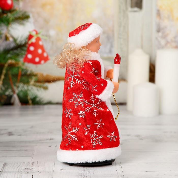 Снегурочка со свечкой в красной шубке, свет, двигается, без музыки