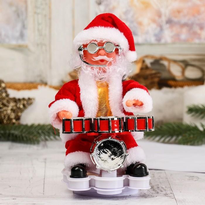 Дед Мороз, за барабанной установкой, подсветка, двигается, английская мелодия