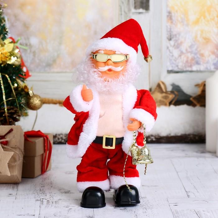 Дед Мороз, в очках, с колокольчиками, английская мелодия