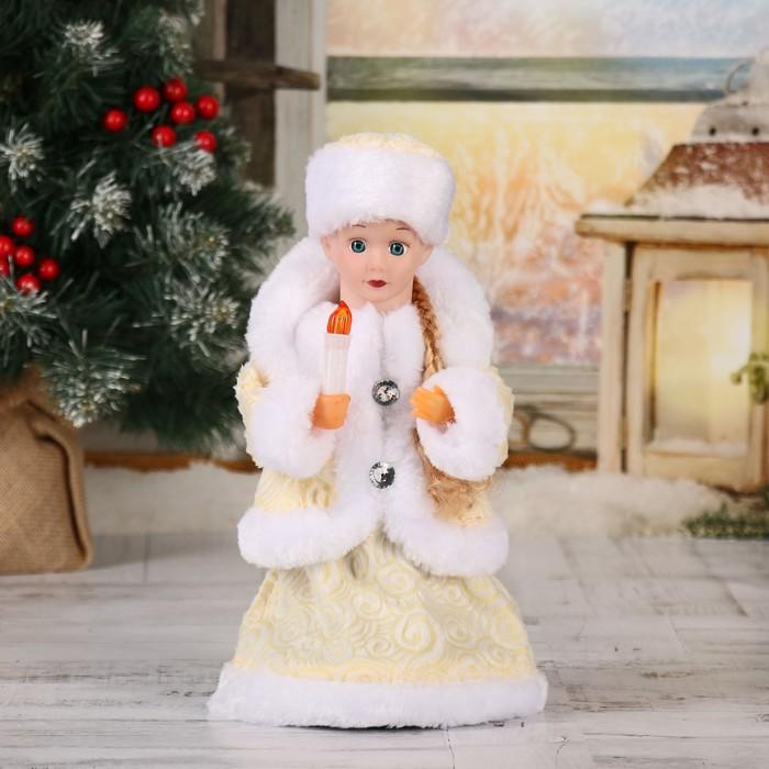 """Снегурочка 30 см """"Пуговка ромбик"""" белая, двигается, без музыки"""