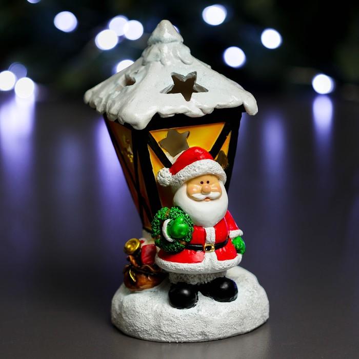 """Фигура с подсветкой """"Дед Мороз фонарь"""" 9,5х10х17,5см"""