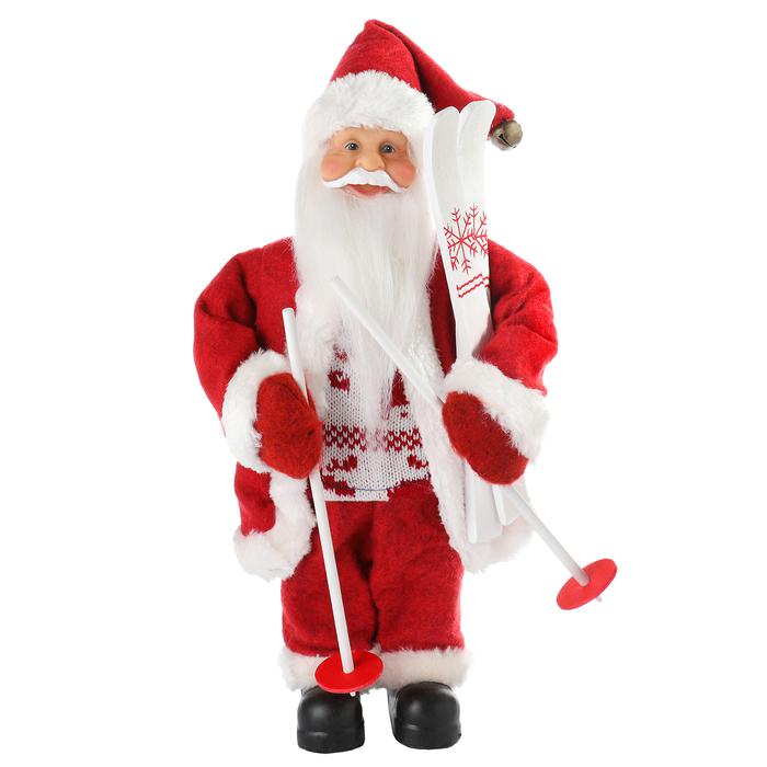 Дед Мороз «В красной шубке: на лыжах», 29 см