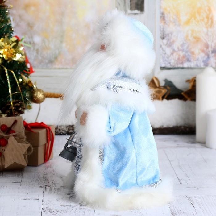 """Дед Мороз 30 см """"Шик"""", голубая шубка и свеча, двигается, русская мелодия"""