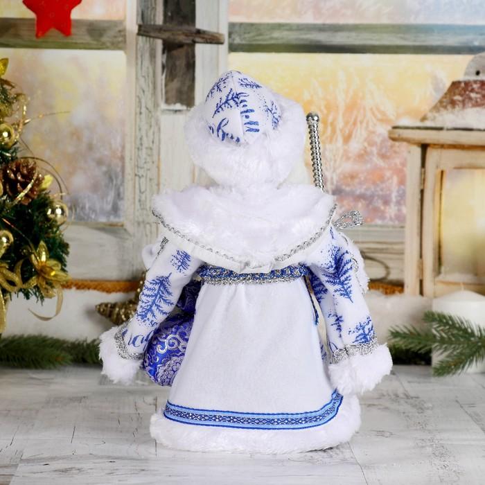"""Дед Мороз """"Шик"""", бело-синяя шуба, двигается, без музыки"""